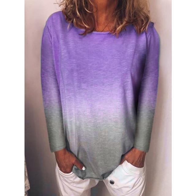 Long Sleeve T Shirt Women Casual Rainbow Tops Tee Woman Clothes-T-Shirts-Shop4398050 Store-A Purple-S-EpicWorldStore.com