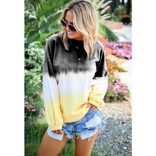 Long Sleeve T Shirt Women Casual Rainbow Tops Tee Woman Clothes-T-Shirts-Shop4398050 Store-B Black-S-EpicWorldStore.com