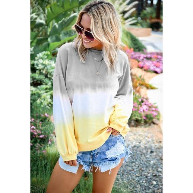 Long Sleeve T Shirt Women Casual Rainbow Tops Tee Woman Clothes-T-Shirts-Shop4398050 Store-B Gray-S-EpicWorldStore.com