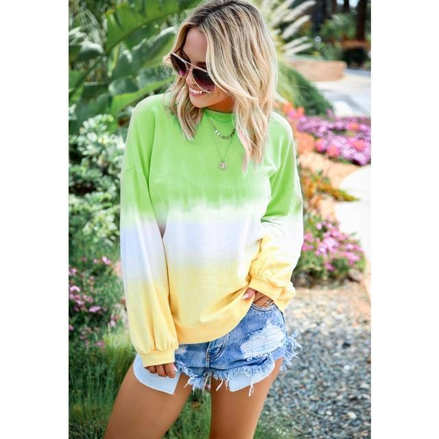 Long Sleeve T Shirt Women Casual Rainbow Tops Tee Woman Clothes-T-Shirts-Shop4398050 Store-B Green-S-EpicWorldStore.com