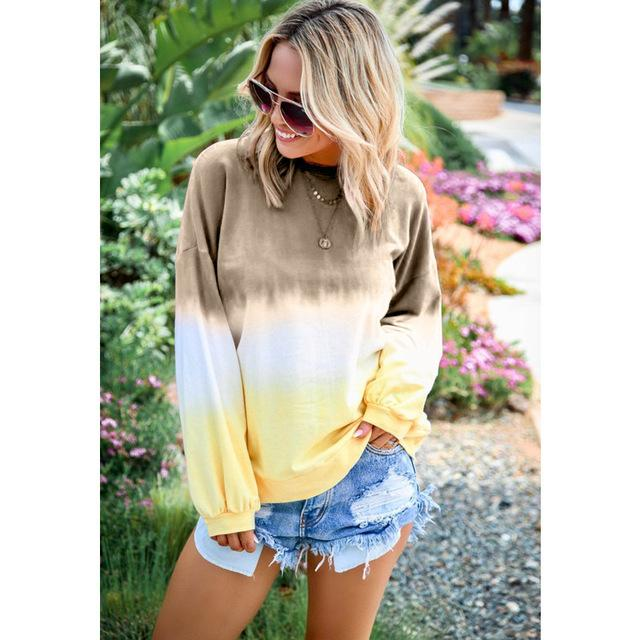Long Sleeve T Shirt Women Casual Rainbow Tops Tee Woman Clothes-T-Shirts-Shop4398050 Store-B Khaki-S-EpicWorldStore.com