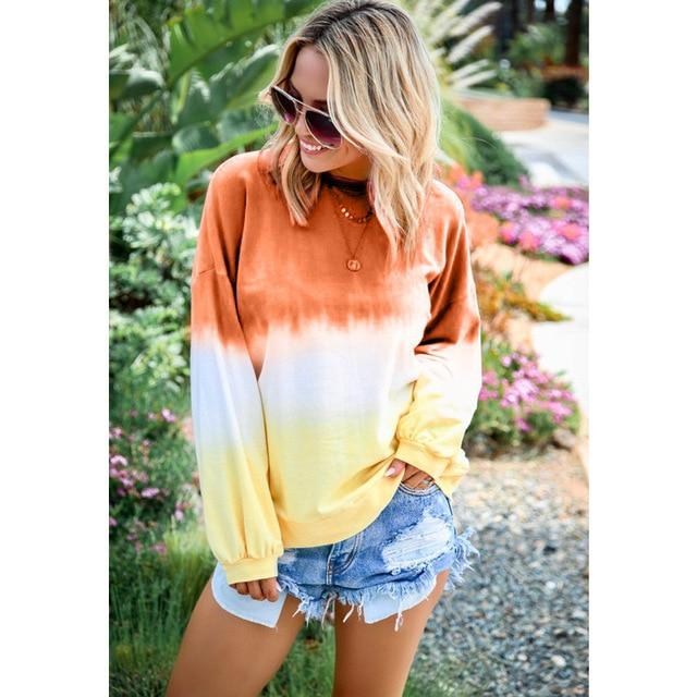 Long Sleeve T Shirt Women Casual Rainbow Tops Tee Woman Clothes-T-Shirts-Shop4398050 Store-B Orange-S-EpicWorldStore.com
