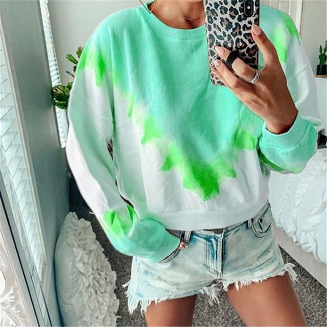 Long Sleeve T Shirt Women Casual Rainbow Tops Tee Woman Clothes-T-Shirts-Shop4398050 Store-C Green-S-EpicWorldStore.com