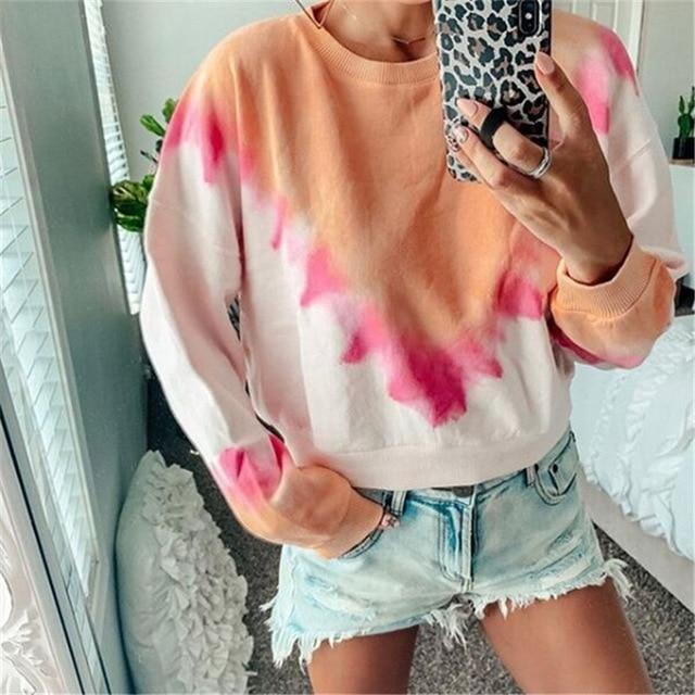 Long Sleeve T Shirt Women Casual Rainbow Tops Tee Woman Clothes-T-Shirts-Shop4398050 Store-C Orange-S-EpicWorldStore.com