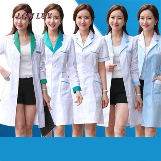 Long Sleeve Women/ White Medical Coat Nurse Services Uniform Medical Scrub Clothes White Lab Coat-Work Wear & Uniforms-Zhang xiao bai Store-1-S-EpicWorldStore.com
