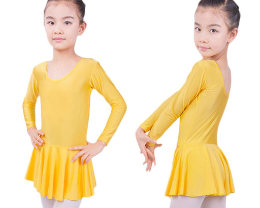 Long Sleeved Spandex Gymnastics Leotard For Girls Ballet Dress Clothing Kids Dance Wear-Stage & Dance Wear-Belly Dance Discount-black-L-EpicWorldStore.com