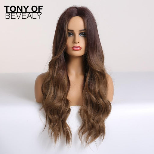 Long Water Wavy Synthetic Wigs Ombre Brown Middle Part Natural Hair Wigs For Women Cosplay Wigs Heat-Home-TONY OF BEVERLY Official Store-lc179-1-N-EpicWorldStore.com