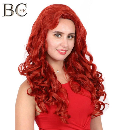 Long Wave Cosplay Copper Red Synthetic Wigs Heat Resistance Fiber Party Halloween Wigs-Synthetic None-Lace Wigs-BCHR Store-24inches-EpicWorldStore.com