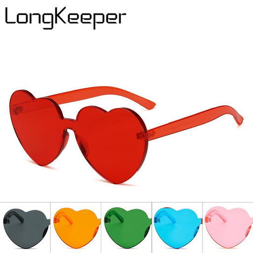 Longkeeper Love Heart Shaped Festival 90S Sunglasses Vintage Luxury Brand Designer Clear Sun-Sunglasses-Long Keeper 1987 Store-BLUE-LENS-EpicWorldStore.com