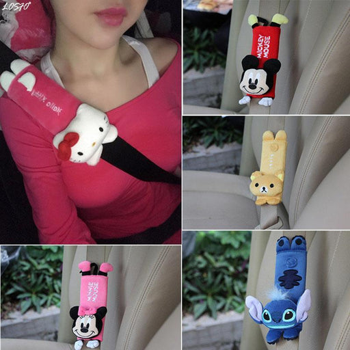 Losfo 1 Pair Cute Cartoon Car Sefety Seat Belt Cover Child Seat Belt Shoulder Pads Protection-Interior Accessories-Automobile modification base Store-Brown-EpicWorldStore.com