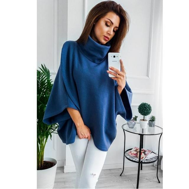 Lossky Winter Asymmetrical Warm Turtleneck Oversized Hoodies Sweatshirt Women Casual Loose-Hoodies & Sweatshirts-Dream Hee-Blue-S-EpicWorldStore.com