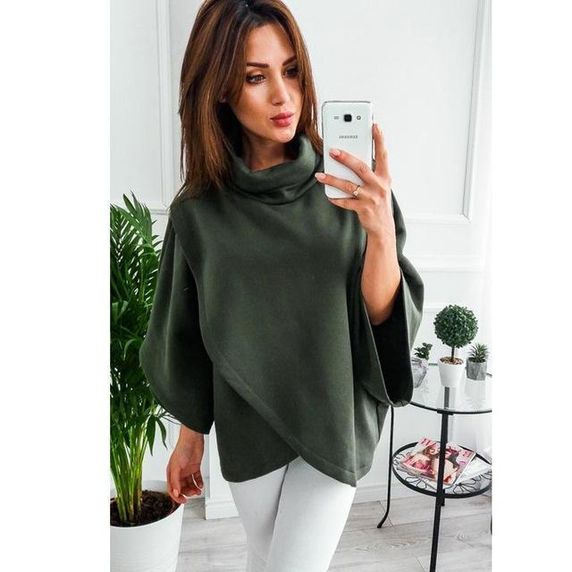 Lossky Winter Asymmetrical Warm Turtleneck Oversized Hoodies Sweatshirt Women Casual Loose-Hoodies & Sweatshirts-Dream Hee-Green-S-EpicWorldStore.com