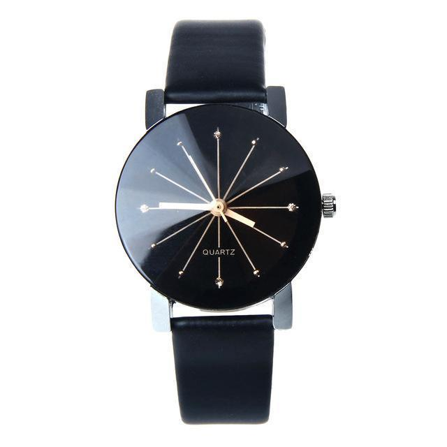 Lovers Couple Quartz Watches Mens And Womens Pu Leather Womens Dress Clock Brand Relogio Reloj-Lover's Watches-Shenzhen Sunshine Wholesale Co.,Ltd-Women Balck-EpicWorldStore.com