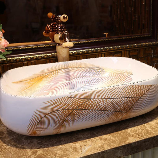 Luxurious Rectangular Porcelain Bathroom Vanity Bathroom Sink Bowl Countertop Rectangular Ceramic-Bathroom Sinks-China Art Bathroom Sinks-EpicWorldStore.com