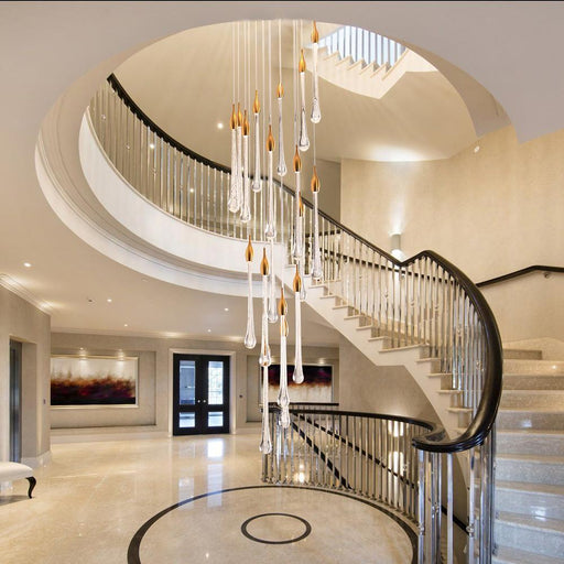 Luxury Crystal Led Pendant Lights Fixture Large Staircase Long Water Drop Kitchen Island-Pendant Lights-YOOGEE Official Store-Dia30 H150cm-Cold White-EpicWorldStore.com