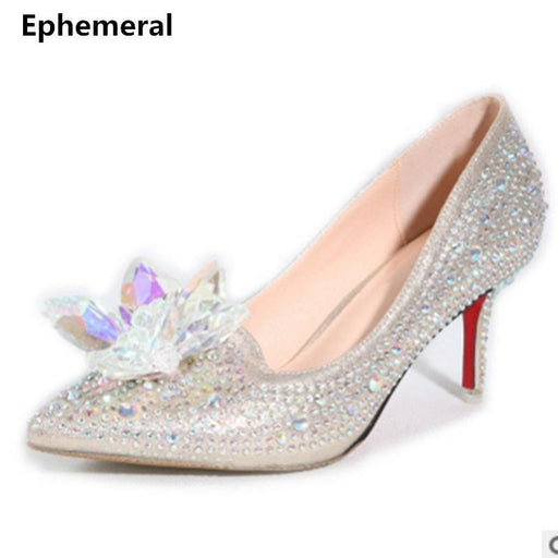 Luxury Crystal Wedding Shoes Pointed Toe High Heels Stylish Party Pumps Stiletto Vintage White-Women's Pumps-Just here for you-silver-3-EpicWorldStore.com
