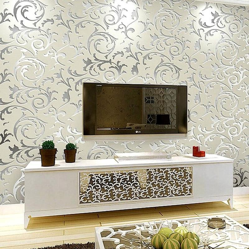 Luxury Grey Silver Leaf 3D Steroscopic Wallpaper For Walls Roll Gold Wall  Paper Living Room
