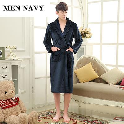 Luxury Men Women Winter Long Warm Bathrobe Super Soft Flannel Bath Robe  Mens Coral Fleece Kimono 8aaf2ad4c