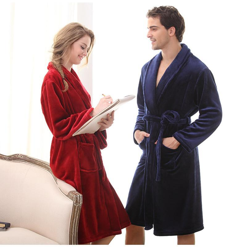 71b6feeafd Luxury Men Women Winter Long Warm Bathrobe Super Soft Flannel Bath Robe  Mens Coral Fleece Kimono