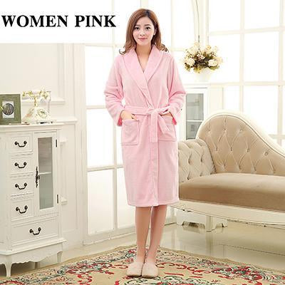 a05a7f0a99 Luxury Men Women Winter Long Warm Bathrobe Super Soft Flannel Bath Robe Mens  Coral Fleece Kimono