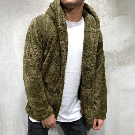 Luxury Mens Sweater Warm Hooded Sweater Coat Jacket Mens Autumn Winter Casual Loose Double Sided-Pullovers-Dazzling Styles Store-Army Green-M-EpicWorldStore.com