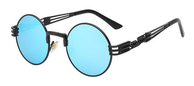Luxury Metal Sunglasses Men Round Sunglass Steampunk Coating Glasses Vintage Retro Lentes Oculos-Accessories-XIU Official Store-Black w blue mirror-EpicWorldStore.com