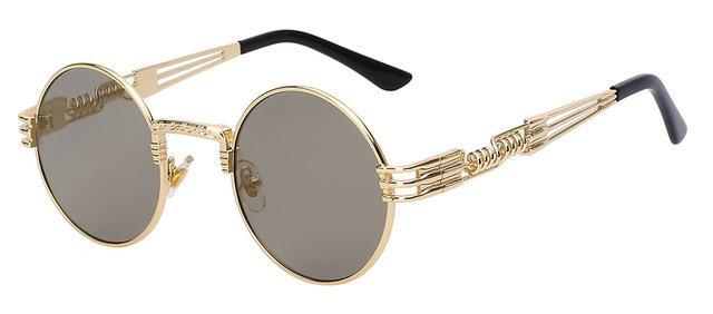 Luxury Metal Sunglasses Men Round Sunglass Steampunk Coating Glasses Vintage Retro Lentes Oculos-Accessories-XIU Official Store-Gold w gold mirror-EpicWorldStore.com
