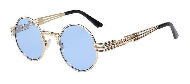 Luxury Metal Sunglasses Men Round Sunglass Steampunk Coating Glasses Vintage Retro Lentes Oculos-Accessories-XIU Official Store-Gold w sea blue lens-EpicWorldStore.com