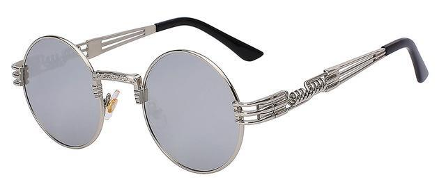 Luxury Metal Sunglasses Men Round Sunglass Steampunk Coating Glasses Vintage Retro Lentes Oculos-Accessories-XIU Official Store-Silver mirror lens-EpicWorldStore.com