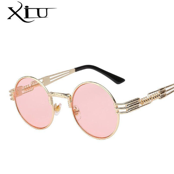 Luxury Metal Sunglasses Men Round Sunglass Steampunk Coating Glasses Vintage Retro Lentes Oculos-Accessories-XIU Official Store-Silver w black lens-EpicWorldStore.com