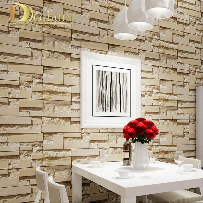 Luxury Stone Brick Wall 10m Non Woven Wallpaper Roll Papel De Parede 3d Living Room Background