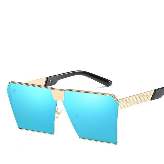 Luxury Vintage Square Rimless Sunglasses Women Brand Designer Driving Sun Glasses For Women Men-Sunglasses-God is a girl-Gold F Blue C13-EpicWorldStore.com