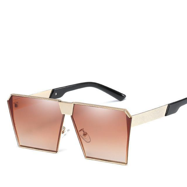 Luxury Vintage Square Rimless Sunglasses Women Brand Designer Driving Sun Glasses For Women Men-Sunglasses-God is a girl-Gold F Brown C3-EpicWorldStore.com