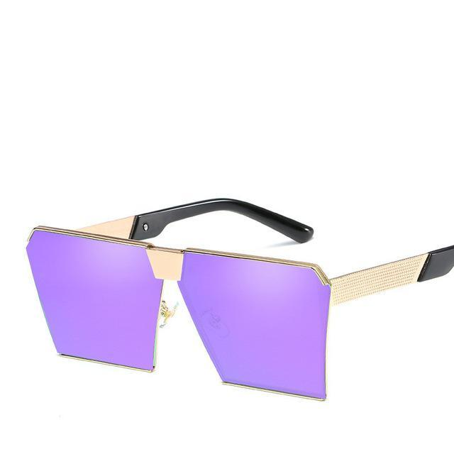 Luxury Vintage Square Rimless Sunglasses Women Brand Designer Driving Sun Glasses For Women Men-Sunglasses-God is a girl-Gold f purple C16-EpicWorldStore.com