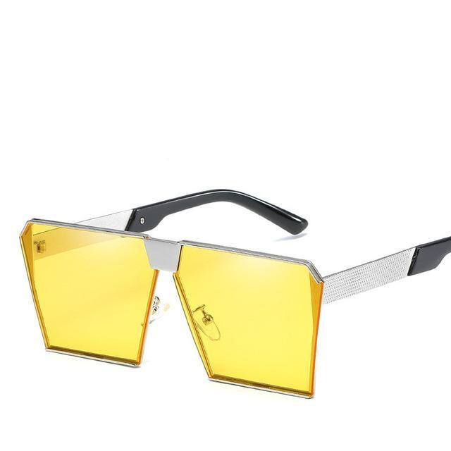 Luxury Vintage Square Rimless Sunglasses Women Brand Designer Driving Sun Glasses For Women Men-Sunglasses-God is a girl-Light Yellow C10-EpicWorldStore.com