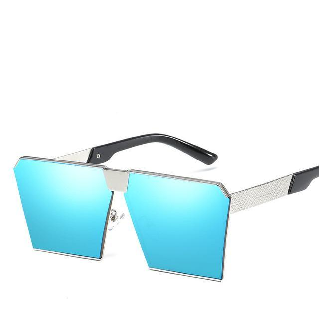Luxury Vintage Square Rimless Sunglasses Women Brand Designer Driving Sun Glasses For Women Men-Sunglasses-God is a girl-Silver F Blue C8-EpicWorldStore.com