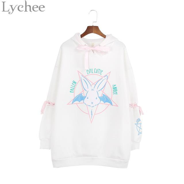 Lychee Harajuku Lolita Style Women Sweatshirt Rabbit Pentacle Print Lace Up Hoodies Casual Loose-Hoodies & Sweatshirts-Lychee Fashion-White-EpicWorldStore.com
