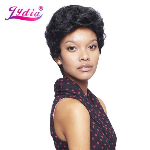 Lydia Synthetic Wigs For Black Women Pure Color 1B Short Curly Wig 100% Kanekalon Synthetic-Lida Hair Store-P1B/30-EpicWorldStore.com