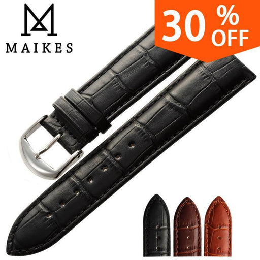 Maikes New Watch Bracelet Belt Black Watchbands Genuine Leather Strap Watch Band 18Mm 20Mm 22Mm-Watch Accessories-MAIKES official store-Black-12mm-EpicWorldStore.com