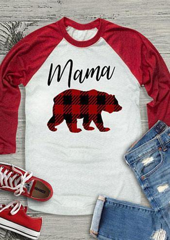 beautiful in colour hot-selling cheap search for original Mama Bear O-Neck Baseball T-Shirt Women White Splicing Casual Full Long  Sleeve Tees Top Female