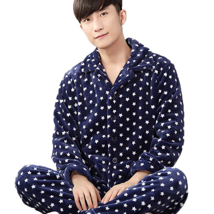 Man Pijama Winter Mens Pajama Sets O-Neck Long Sleeve Nightwear For Men  Sleepwear Thick 14d642f5b