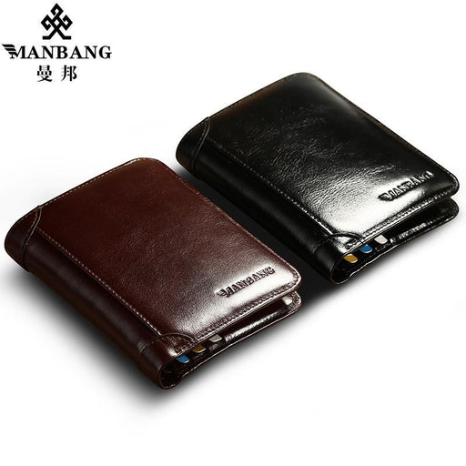 Manbang Classic Style Wallet Genuine Leather Men Wallets Short Male Purse Card Holder Wallet Men-ManBang SzMdc Wallet Store-Coffee-EpicWorldStore.com