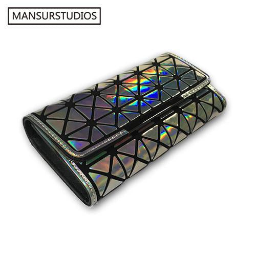 Mansurstudios Women Long Clutch Wallet, Diamond Lattice Standard Long Purse Baobao Wallets ,-Wallets-Vieline Store-silver 1-EpicWorldStore.com