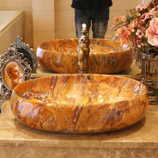 Marble Sink Ceramic Sinks Counter Top Wash Basin Vanities Bathroom Sink Vessel Wash Basin Ceramic-Bathroom Sinks-China Art Bathroom Sinks-EpicWorldStore.com