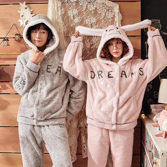 c82dd2374009 Matching Pajamas Flannel Hooded For Men And Women-Pajama Sets-J Q  Store-A894man