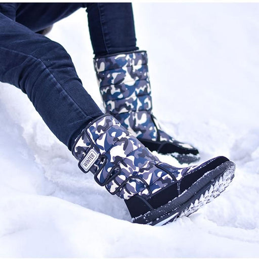 Men Boots Platform Snow Boots For Men Thick Plush Waterproof Slip Resistant Winter Shoe-Snow Boots-JINLIN SHOE Store-Black-6-EpicWorldStore.com