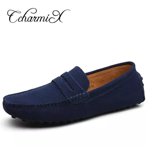 Men Casual Suede Leather Loafers Black Solid Leather Driving Moccasins Gommino Slip On Men Loafers-Men's Casual Shoes-CcharmiX footwear Store-green-6.5-EpicWorldStore.com