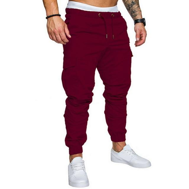 Men Joggers Casual Pockets Sweatpants Multicolor Pants Fashionable-Sweatpants-Shop5112075 Store-Red-M-EpicWorldStore.com