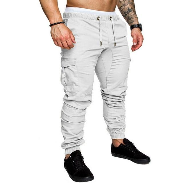 Men Joggers Casual Pockets Sweatpants Multicolor Pants Fashionable-Sweatpants-Shop5112075 Store-White-M-EpicWorldStore.com