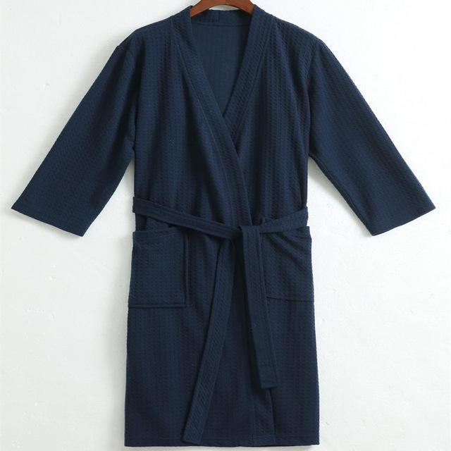 Men Waffle Bath Robe Suck Water Cotton Bathrobe Male Night Dressing Gown  Mens Plus Size Kimono 80d9ecc6f